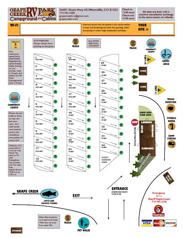 Map of Grape Creek RV Park, Westcliffe, Colorado